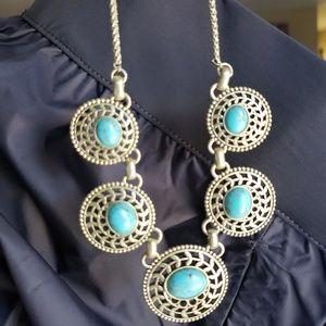Lucky brand necklace with turquoise style accents